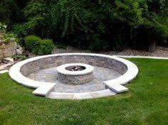 in ground stone fire pit landscapes pinterest backyard