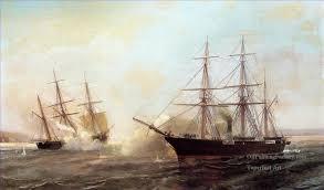 6 alabama civil war ships oil paintings