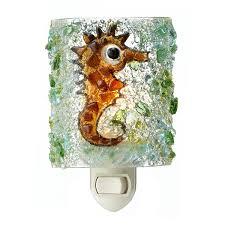 recycled glass seahorse night light children bedroom beach