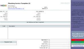 plumbing contractor invoice template landscape