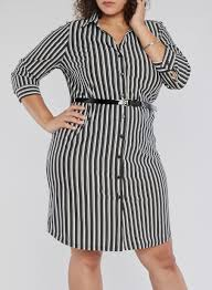 plus size striped shirt dress with belt rainbow