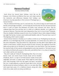 Thanksgiving Comprehension Printables Reading Comprehension Worksheet Harvest Festival Culture