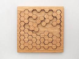wooden puzzle wooden honeycomb puzzle geometric shapes puzzle oak