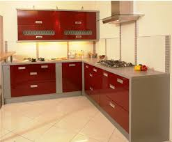 modern red and white kitchen design with ceramic floor ceiling