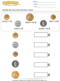 coin identification worksheet identify coins and write their values worksheet turtle diary