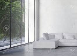 large modern minimalist living room interior with a double volume
