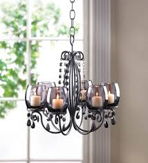 Candle Hanging Chandelier Midnight Black Elegance With 6 Tinted Glass Cups Votive Candle