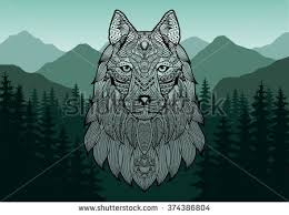 mountain backdrop patterned wolf coyote dog against stock vector 374386804