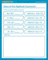 free printable math worksheets variables expressions value of algebraic expression free math printables math blaster