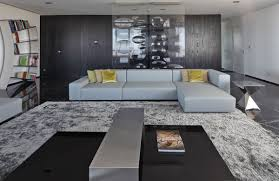 Gray Sofa Living Room by Modern Apartment In Buenos Aires Argentina By Vestudio Arquitectura