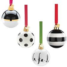 kate spade s uber chic black and white ornaments winter