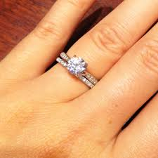 wedding band with engagement ring free diamond rings 1 carat diamond ring with diamond band 1