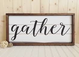 gather wood sign framed rustic home decor wall hanging by
