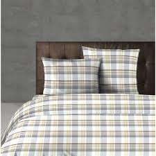design port hartford pure cotton taupe and grey tartan check duvet