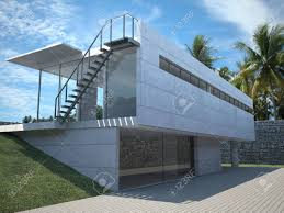exterior view modern house exterior view with palms stock photo picture and