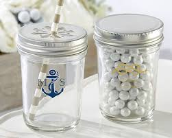 jar favors personalized printed glass jar nautical wedding