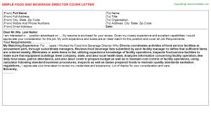 food and beverage director cover letter