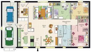 plan maison en u ouvert modèle de plan de maison plain pied avec 3 chambres et garage 2