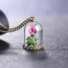 rose glass necklace images Pink rose glass vial necklace fray jpg