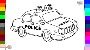 police car coloring page name and sound youtube