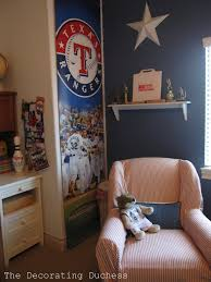 the decorating duchess gage s baseball room the rangers banners came from the arlington ballpark they were selling the ones that were actually used outside of the stadium during the season