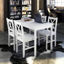 chaises cuisine blanches ensemble 1 table en bois de pin 4pcs chaises moderne couleur