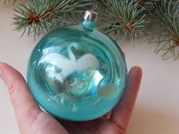 vintage ornament big blue glass soviet ornament