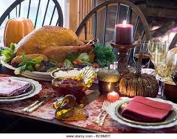 stuffed turkey on table laid stock photos stuffed turkey on