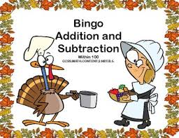 addition and subtraction within 100 bingo thanksgiving theme tpt
