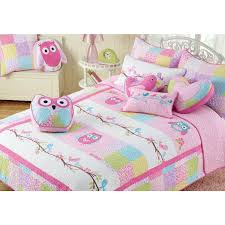 pink owl cotton 3 piece quilt set owl bedding kid quilts and owl
