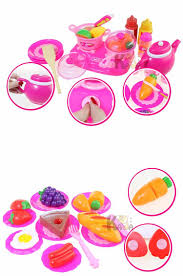 Toy Kitchen Set Food 54pcs Set Pink Kitchen Food Cooking Role Play Pretend Toy Girls