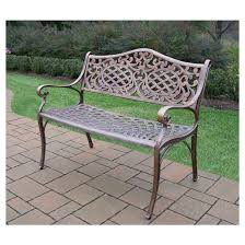 oakland living mississippi cast aluminum patio settee bench target