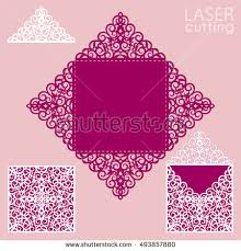 square laser cut envelope template card stock vector 437247997
