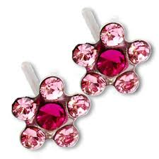 studex system 75 ear piercing earrings light fuchsia flower silver stud
