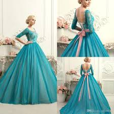 dress for quincea era modest teal quinceanera dresses square neck half sleeves lace