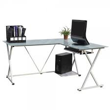 Glass Corner Desk Homegear Glass L Shaped Corner Computer Work Desk White Golf