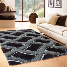 Livingroom Rug Soft Shag Indoor Living Room Area Rug In Black By Rug Addiction
