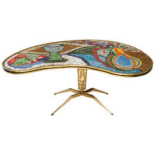 1950s italian mosaic top table on cast brass base mosaics