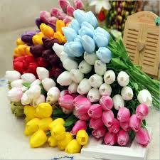 10pcs pack artificial tulip flowers single long stem bouquet