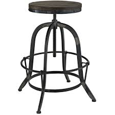 rustic black swivel bar stool with rounded walnut wood seat of