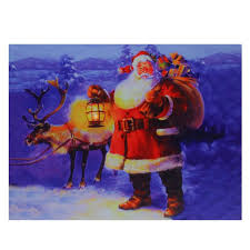 Lighted Santa And Reindeer Outdoor by Led Lighted Santa Claus With Reindeer Christmas Canvas Wall Art