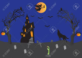 halloween with haunted house witch on broomstick with cat bats