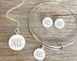 monogramed jewelry monogram jewelry etsy