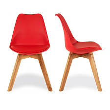 charles eames x2 style red dining chairs with solid oak crossed