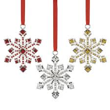 jeweled snowflake ornaments set of 3 reed and barton