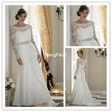 long sleeve wedding dress for muslim elegant women bride gowns