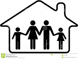 house family parents children safe in home stock photo image