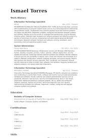 Security Specialist Resume Sample by Information Technology Specialist Resume Samples Visualcv Resume