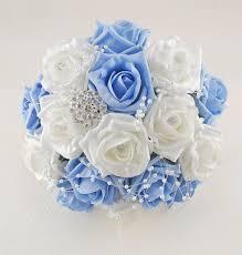 wedding flowers blue and white light blue and white diamante foam brooch wedding flower