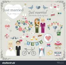 scrapbook wedding set wedding elements wedding car glass stock vector 239150245